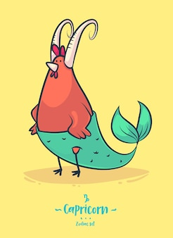 Signo zodiacal capricornio. gallo con cola de pez. cartel del fondo de la tarjeta de felicitación del zodiaco.