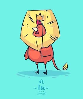 Signo zodiacal leo. gallo y corona. cartel del fondo de la tarjeta de felicitación del zodiaco.