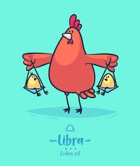 Signo zodiacal libra. gallo y pollito. cartel del fondo de la tarjeta de felicitación del zodiaco.