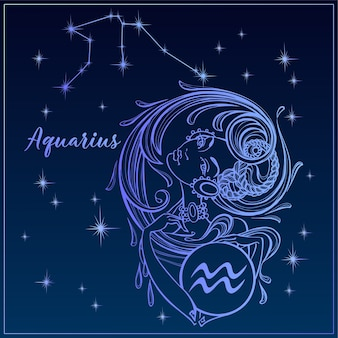 Signo del zodiaco acuario como una hermosa niña. la constelación de acuario.