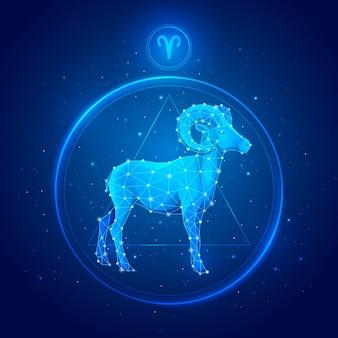 Signo del zodíaco aries en círculo