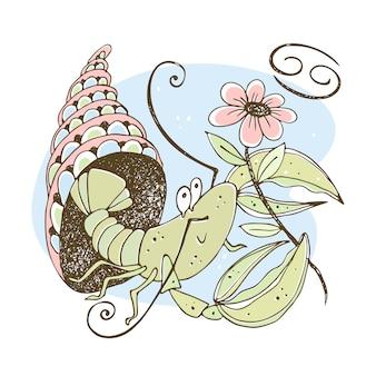 Signo del zodiaco cáncer. lindo crustáceo con una flor sentada en una concha.