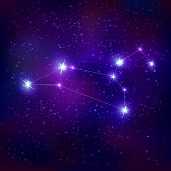Signo del zodiaco constelación realista de leo con sistema de estrellas azules brillantes en el cielo nocturno