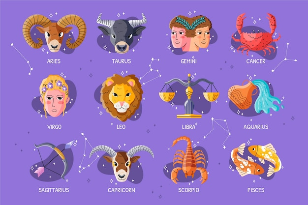 Signo del zodíaco establece diseño plano