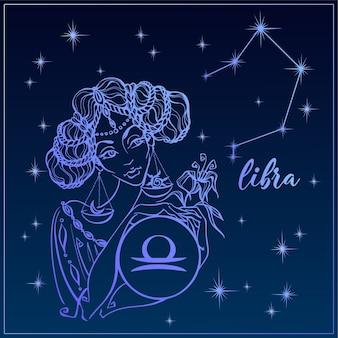 Signo del zodiaco libra como una chica hermosa