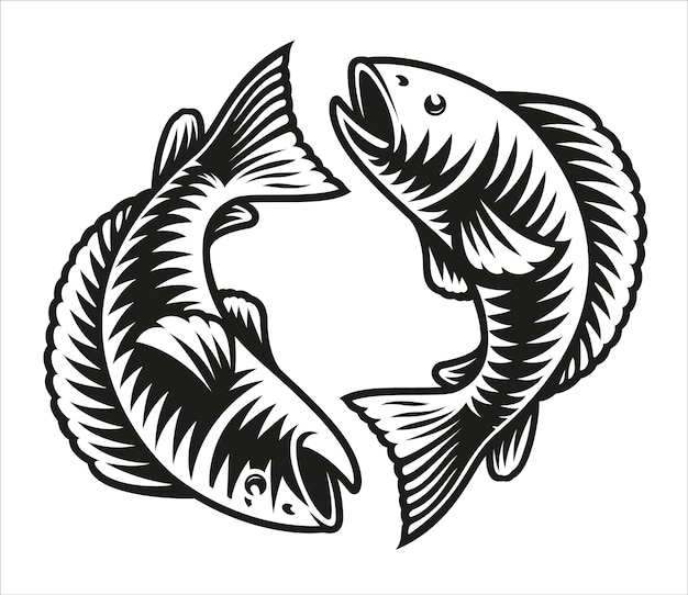 Signo del zodíaco piscis aislado en blanco