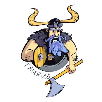 Signo del zodíaco tauro hombre plano de dibujos animados. guerrero enojado, personalidad del signo del horóscopo. carácter 2d listo para usar para diseño comercial e impresión. icono de concepto aislado