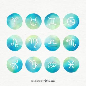 Signos de acuarela zodiacos