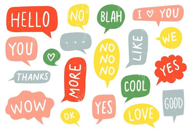 Signos de burbujas de discurso con textura
