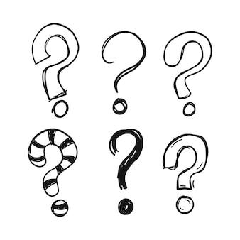 Signos de interrogación dibujados a mano