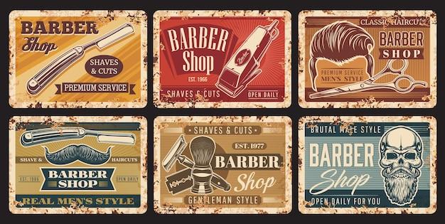 Signos de grunge vintage de corte de pelo de barbería con calavera y barba