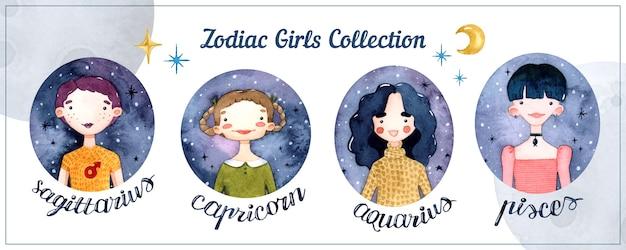 Signos del horóscopo de las niñas del zodiaco elementos aislados de acuarela con letras
