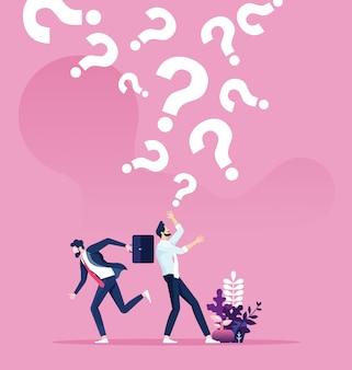 Signos de interrogación cayendo sobre un hombre de negocios. vector de concepto de negocio