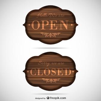 Signos de madera abierto y cerrado Vector Premium