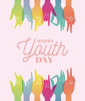 Signos con manos de colores y degradados de diseño feliz del día de la juventud, vacaciones jóvenes y tema de la amistad.