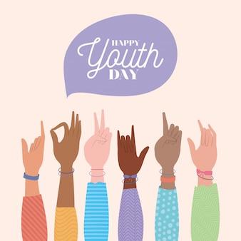 Signos con manos de diseño feliz día de la juventud, vacaciones jóvenes y tema de amistad.