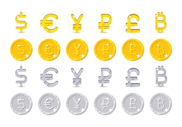 Signos de moneda mundial y monedas