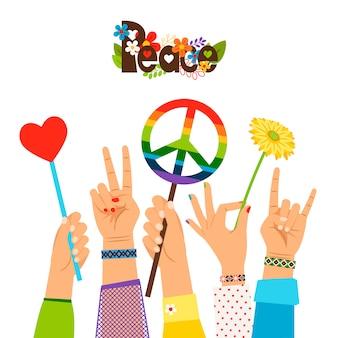 Signos de paz en manos coloreadas.