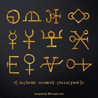 Signos y símbolos dorados pintados a mano