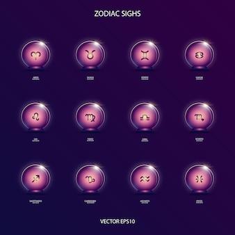 Signos zodiacales en bola mágica.