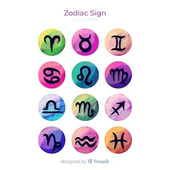 Signos del zodiaco en acuarela