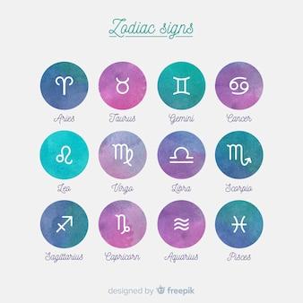 Signos del zodiaco en aucarela
