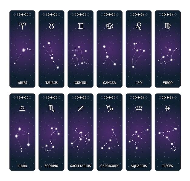 Signos del zodíaco con constelaciones en el espacio exterior.