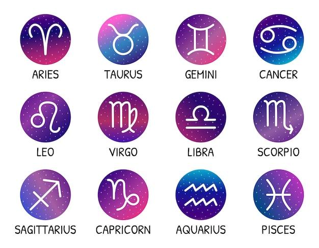 Signos del zodíaco diseño de estrellas conjunto de vectores símbolos del zodíaco en el fondo del cielo estrellado elementos astrológicos