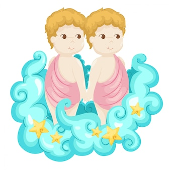 Signos del zodiaco - ilustración vectorial de géminis