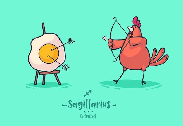 Los signos del zodíaco sagitario. gallo y tortilla. cartel del fondo de la tarjeta de felicitación del zodiaco. ilustración vectorial