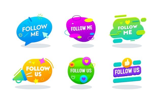 Sígueme y síguenos conjunto de banners, logotipo de redes sociales en el colorido estilo de memphis con tipografía