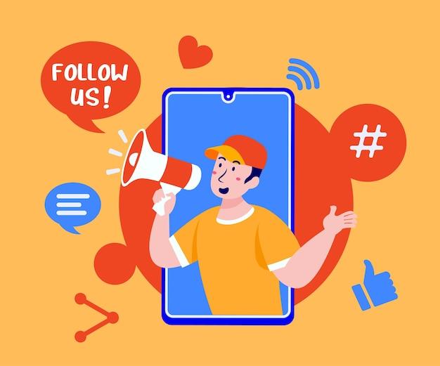 Síguenos en las redes sociales con megáfono