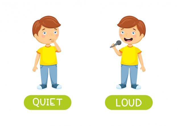 Silencioso y ruidoso. vector antónimos y opuestos. ilustración de personajes de dibujos animados