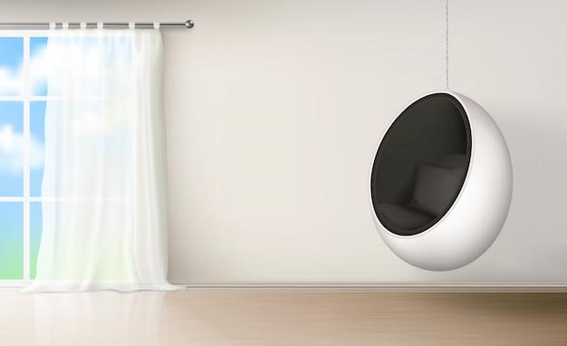 Silla de huevo en vector realista interior de habitación
