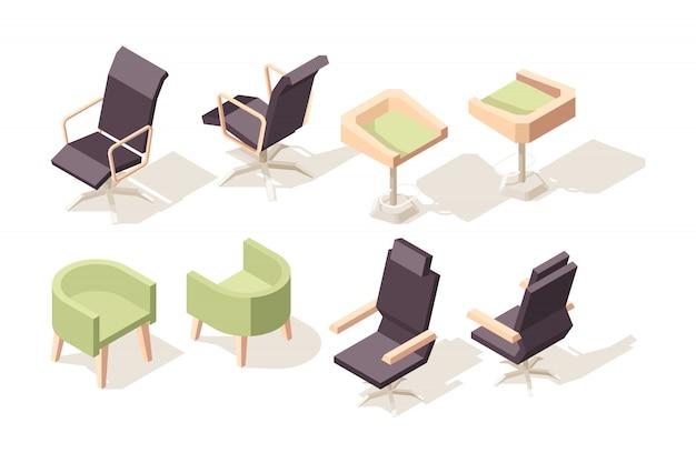 Silla isométrica. muebles de madera modernos para gabinete de oficina objetos 3d de baja poli colección de sillas y sillones