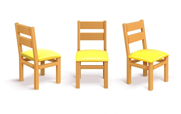 Silla de madera en diferente posición aislada ilustración vectorial