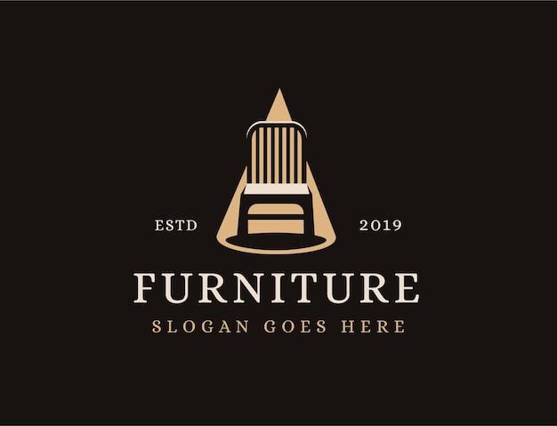 Silla de muebles en plantilla de logotipo de foco