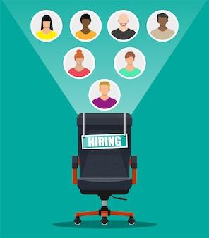 Silla de oficina y letrero vacante. contratación y reclutamiento. concepto de gestión de recursos humanos, búsqueda de personal profesional, trabajo. encontrado currículum correcto.