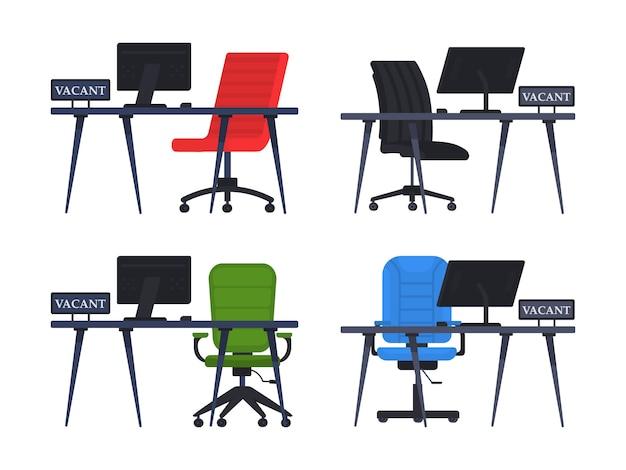 Silla de oficina vacía con signo vacante. concepto de empleo, vacantes y contratación de trabajo. lugar de trabajo vacante para empleado. el concepto de contratación y contratación de una empresa, búsqueda de empleados. vector.
