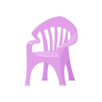 Silla de plástico lila en estilo de dibujos animados para jardín interior, cabaña.ilustración de vector.