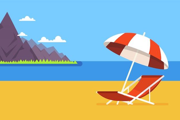 Silla de playa y montañas en el fondo