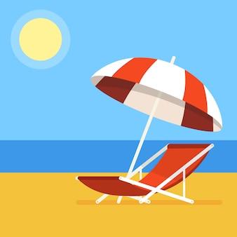 Silla de playa con sombrilla