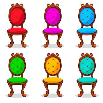 Silla retro colorida de dibujos animados