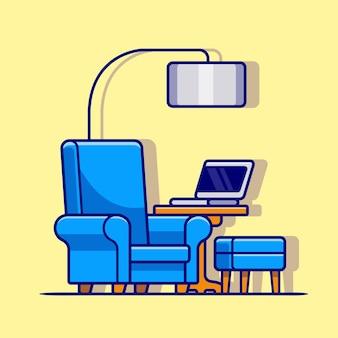 Silla del sofá con la ilustración del icono del vector de la historieta de la tabla y del ordenador portátil. tecnología interior icono concepto aislado premium vector. estilo de dibujos animados plana