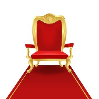 Silla de trono de rey dorado de lujo con ilustración gráfica de alfombra roja real