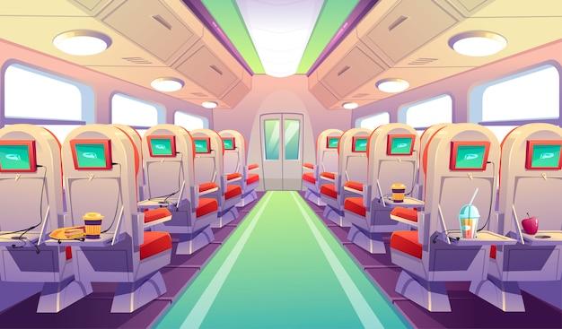 Sillas de autobús, tren o avión con mesas plegables.