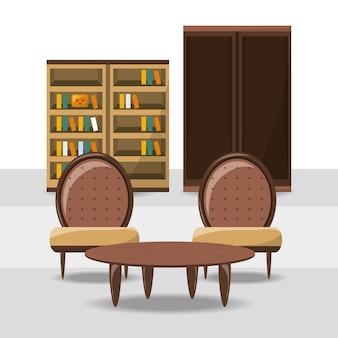 Sillas y mesa sobre el icono de estanterías