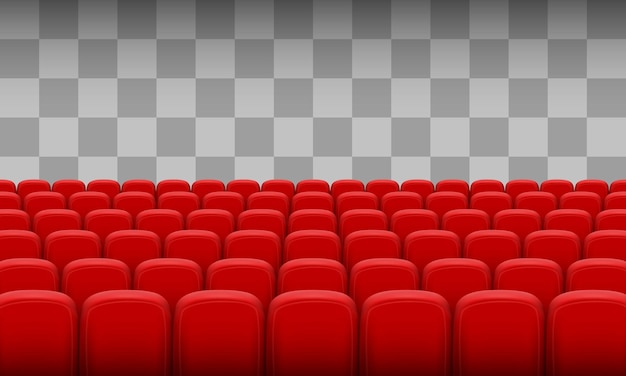 Sillas rojas del cine sobre un fondo transparente. ilustración vectorial