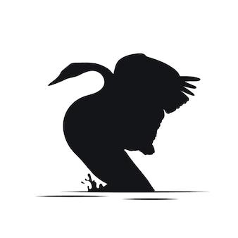 Sillhouette lindo cisne con alas arriba