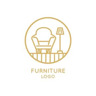Sillón y lámpara muebles logotipo de empresa comercial